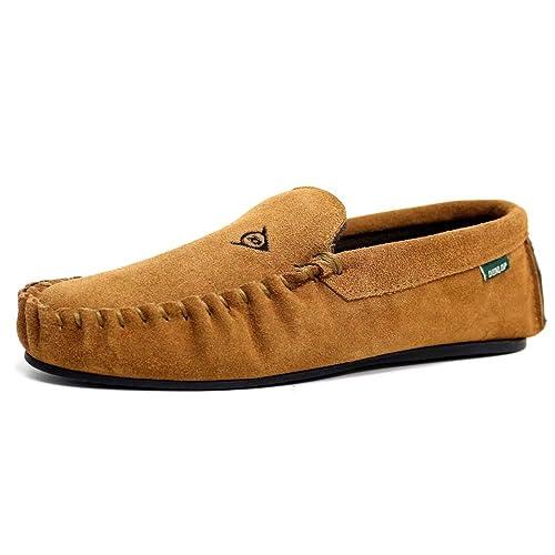 Dunlop LUKE - Zapatillas de estar por casa de cuero para hombre: Amazon.es: Zapatos y complementos