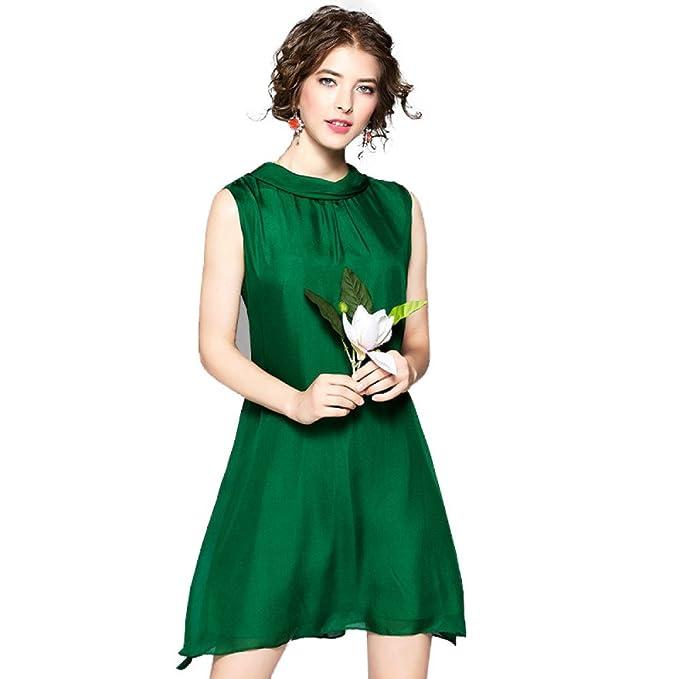 Las Mujeres Del Verano Señora Vestido De Seda Verde Sin Mangas Una Línea De Cuello Redondo
