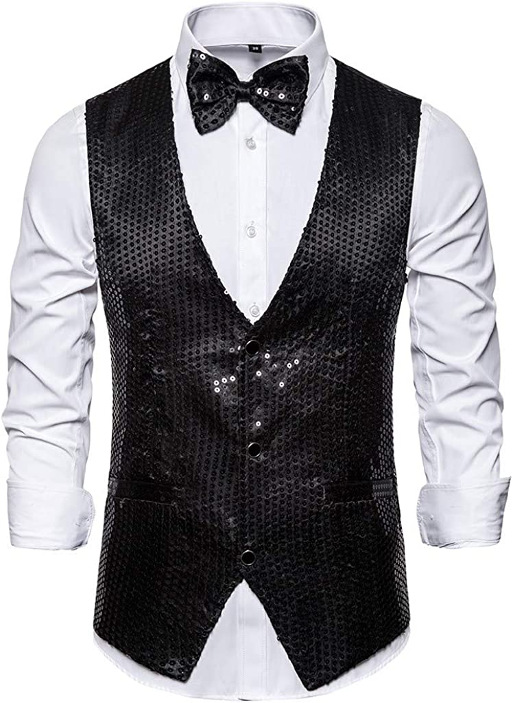 Gilet Uomo Paillettes Blazer Eleganti Gilet Slim Fit Costumi Casual Cocktail Suit Monopetto Tuxedo Festa di Carnevale Halloween Party Camicia