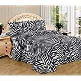 4 Piece Zebra Animal Print Super Soft Executive Collection 1500 Series Bed Sheet Set Queen Size (Black White Zebra)