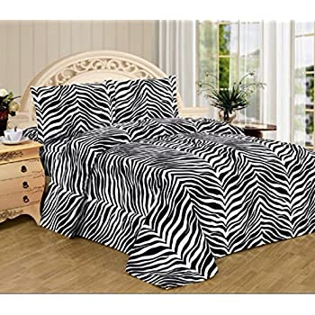 4 Piece Zebra Animal Print Super Soft Executive Collection 1500 Series Bed  Sheet Set Queen Size