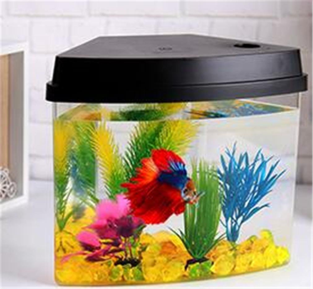 YANFEI 3.5L Mini Eco Power Plant interno di illuminazione illuminazione illuminazione acquario Desktop integrato regalo creativo Fish Tank , nero 943cd5