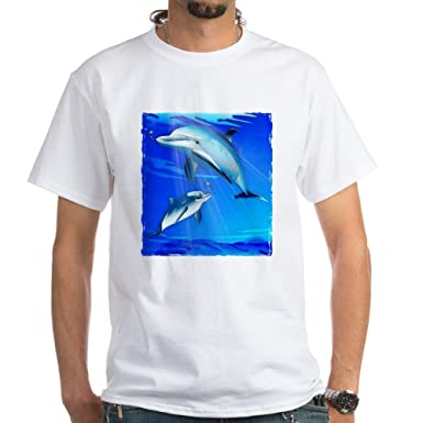 f99220ea5ba Amazon.com: CafePress Mom Baby Dolphin 100% Cotton T-Shirt, White ...