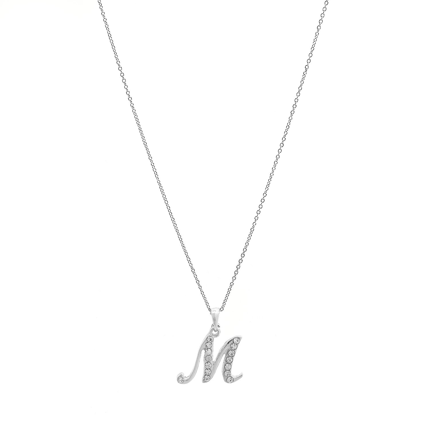 93245ce6f9dbee Amazon.com: Silver Plated Crystal Script Initial Necklace (M Initial):  Jewelry