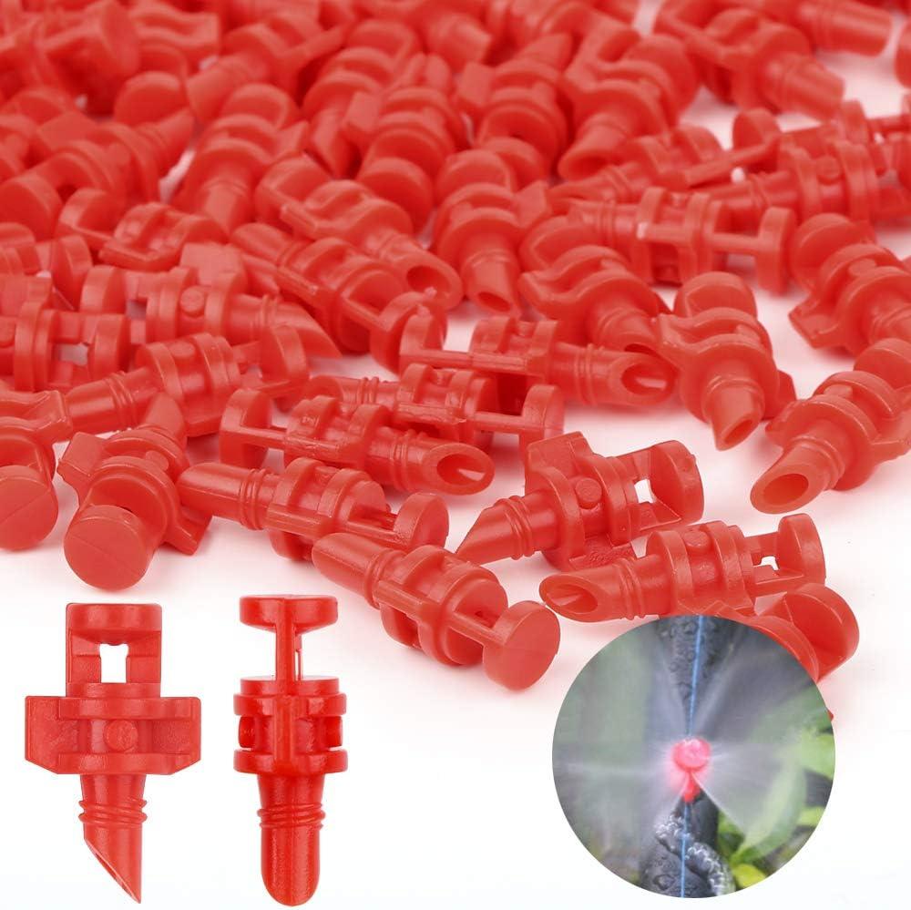 Sistema Aspersión, 100pcs Boquillas Riego Goteo Tobera Pulverización Cabezal Goteo Micro Aspersor Spray Nozzle para Jardín Huerto Agricultura (Kit 360)
