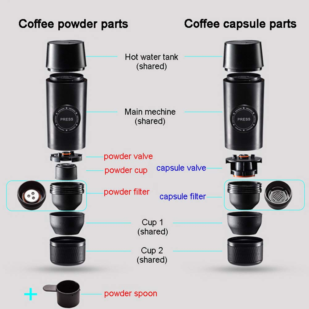 OMZBM Mini 2-in-1 Handheld All in One Espresso Coffee Maker with Hot Extraction Powder&Capsule,Wireless Portable Chargeable Electric Coffee Mechine for Outdoor Travel,Black by OMZBM (Image #6)