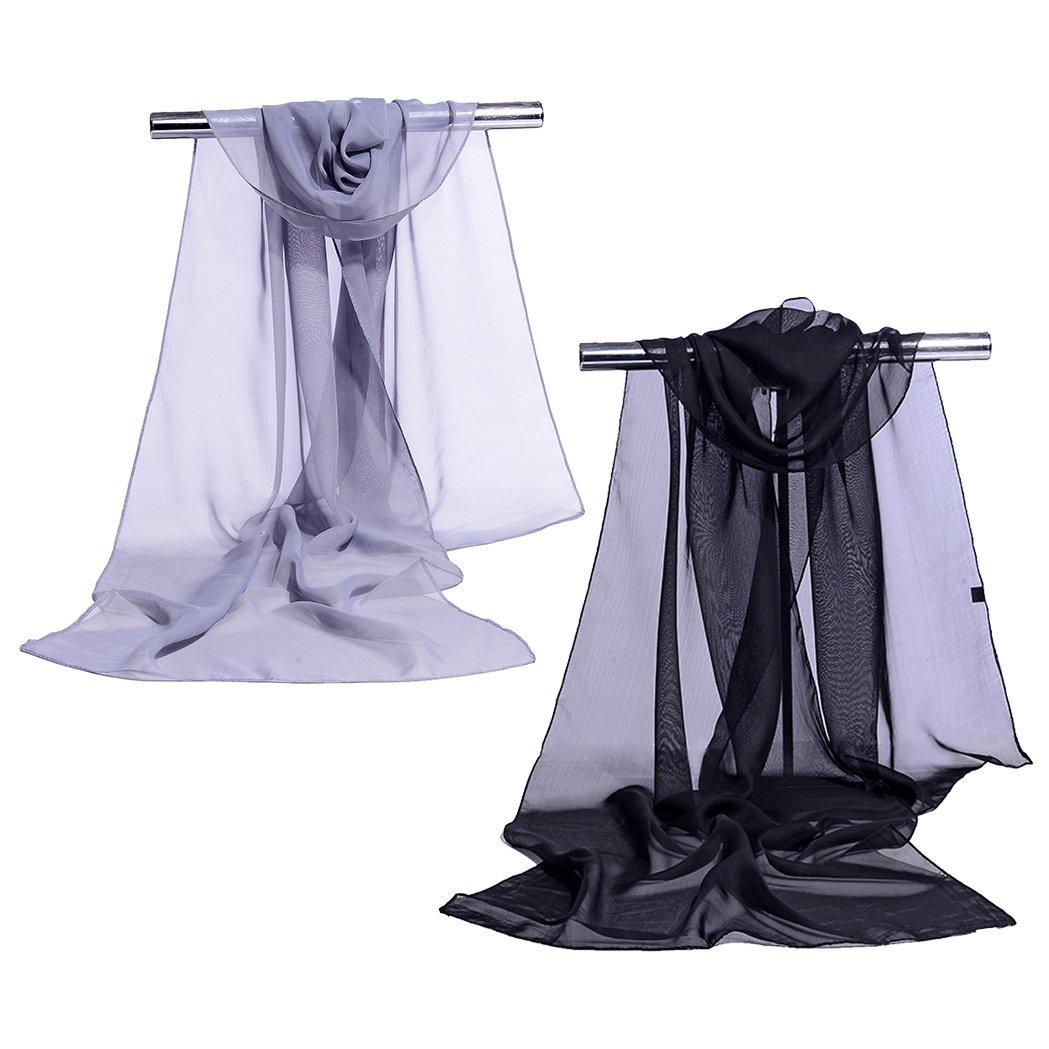 Chiffon Shawls Wrap Scarves Summer Beach Cover Long Women Silk Scarf JW08 (Black Gray)