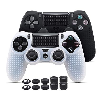 6amLifestyle Funda Protectora Antideslizante de Silicona para Mando PS4, Carcasa para Sony PS4 / PS4 Pro / PS4 Slim Controller (Blanco y Negro 2 ...