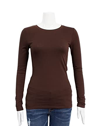 Brown Ladies Crew Neck Long Sleeve T-Shirt  Amazon.co.uk  Clothing 4ef2f836b10
