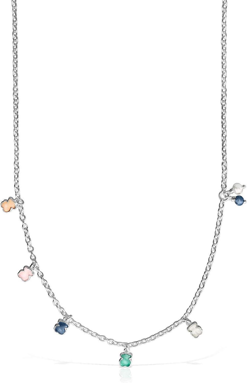 TOUS Collar Mini Color de Plata con Gemas y Perla