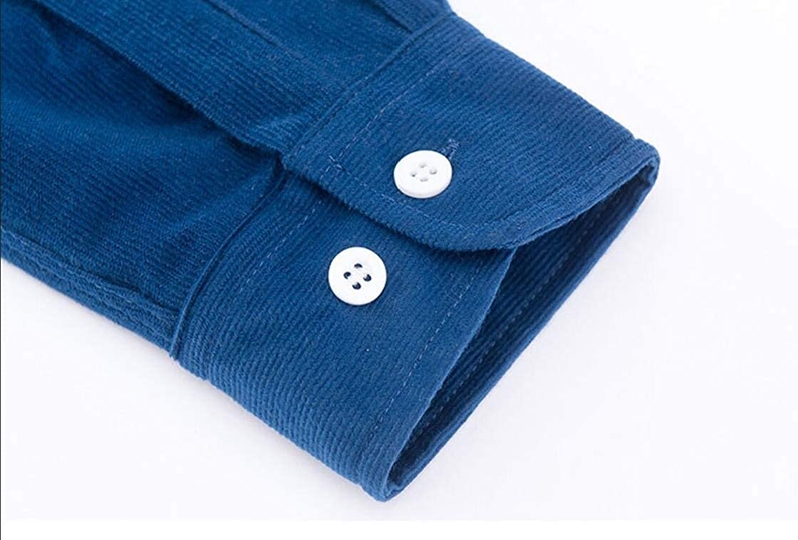 Etecredpow Men Corduroy Casual Long-Sleeve Button-Down Slim Fit Shirts