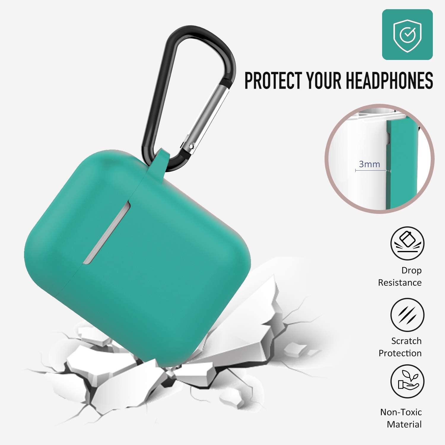 Airpods Case Front LED Not Visible - Blue Coffea AirPods Accessories Shockproof Case Cover Portable /& Protective Silicone Skin Cover Case for Airpods 2 /& 1