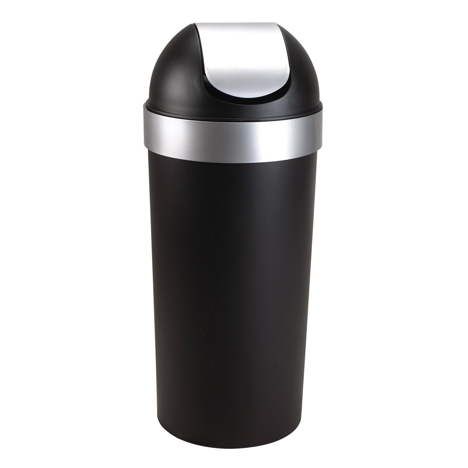 Umbra Venti 16-Gallon Swing Top Kitchen Trash Can - Large, 35-inch Tall Garbage Can for Indoor, Outdoor or Commercial Use, Black/Nickel by Umbra