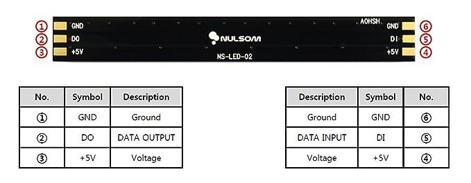 NulSom NeoPixel Rainbow Stick for Arduino - 1x8 WS2812B