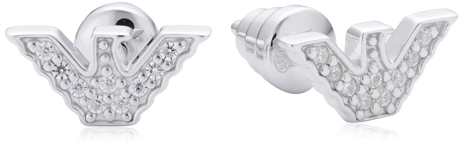 d908b5db0 Emporio Armani Sterling Silver and Cubic Zirconia Logo Earrings EG3027040:  Amazon.co.uk: Jewellery