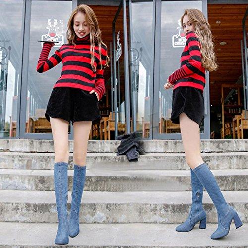 wuayi Frauen Winter Schuhe Slim Denim High Heels Stiefel Spitz Knie-High Kampf Stiefel Blau