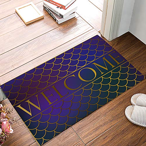 Family Decor Door Mat Anti-Slip Rubber Low-Profile Entrance Rugs 18 x 30 Inch Fantasy Fish Scale