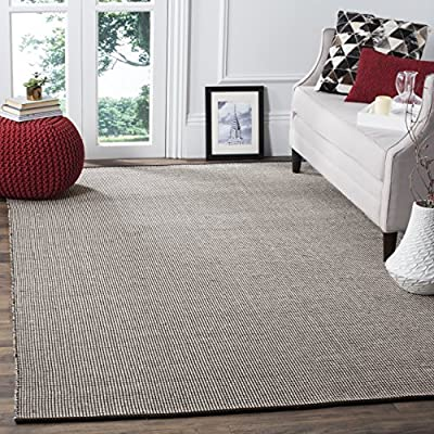 Safavieh Montauk Collection MTK345A Handmade Flatweave Ivory and Grey Cotton Area Rug (5' x 8')