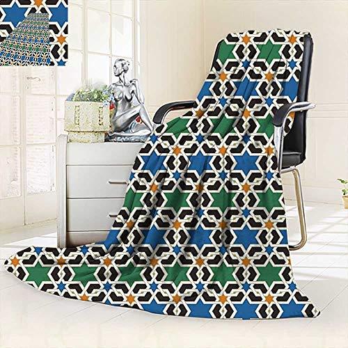 vanfan Soft Warm Cozy Throw Blanket Geometric Hexagonal Pattern Stars Islamic Decorating Style Eastern Zellige Art,Silky Soft,Anti-Static,2 Ply Thick Blanket. (62''x60'') by vanfan