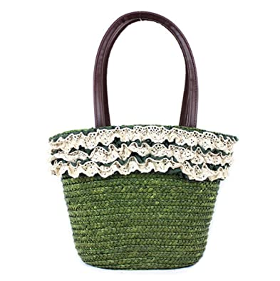 c378518f4db9 Amazon.com: Tonwhar Lace Edge Wheat Straw Woven Bag Straw Summer ...