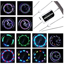 LED Bike Spoke Lights Waterproof - DAWAY A12 Cool Bicycle Wheel Light (2 Pack), Safety Tire Lights for Kids Adult, Very Bright, Auto & Manual Dual Switch, 30 Pattern, Include Battery, 6 Month Warranty