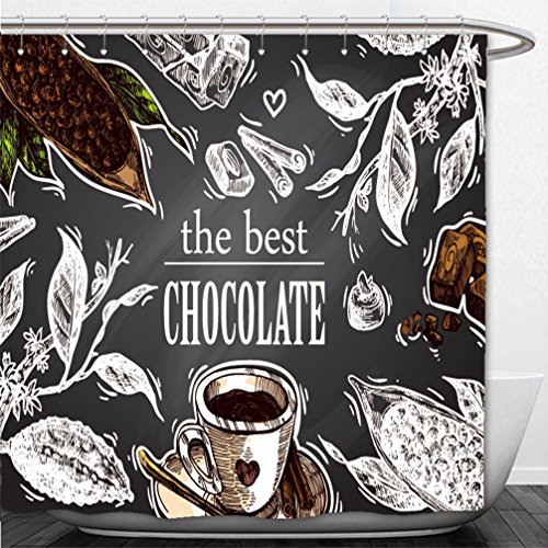 Interestlee Shower Curtain hand drawn vector sketch illustration chocolate us for postcard card invitations and menu 584941090 (Golden Menu Bee)