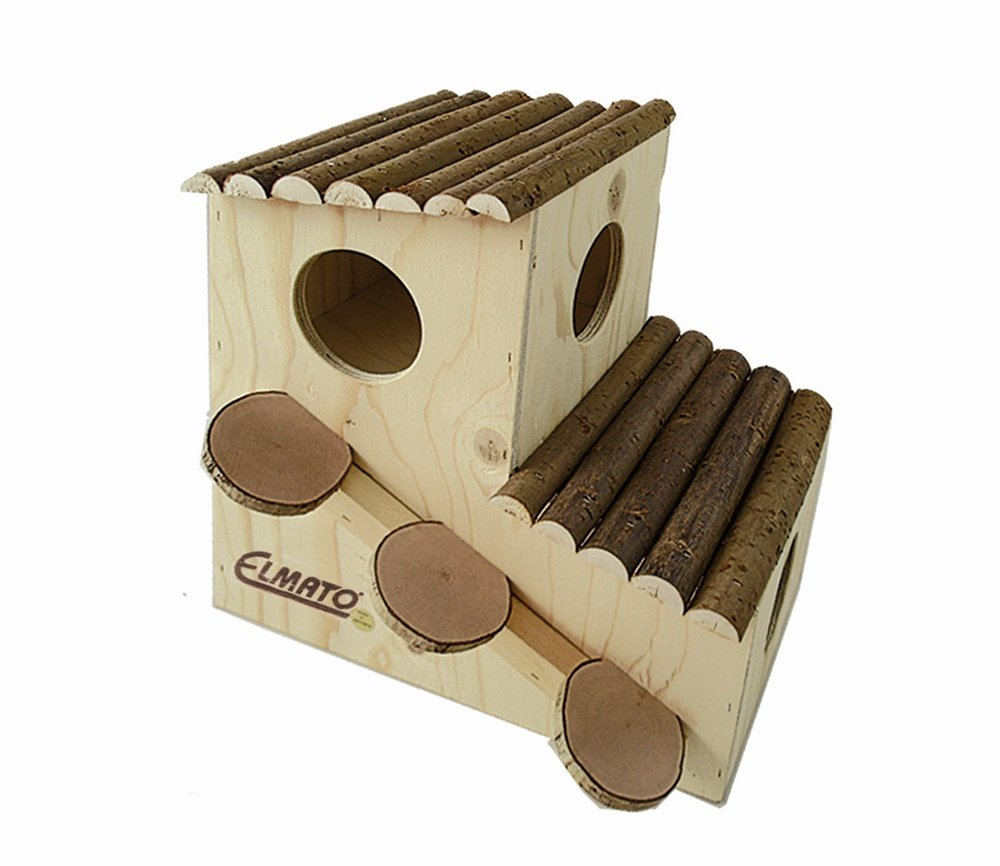 Elmato Level 2 Rodent House with Natural Wooden Roof and Ramp, Large