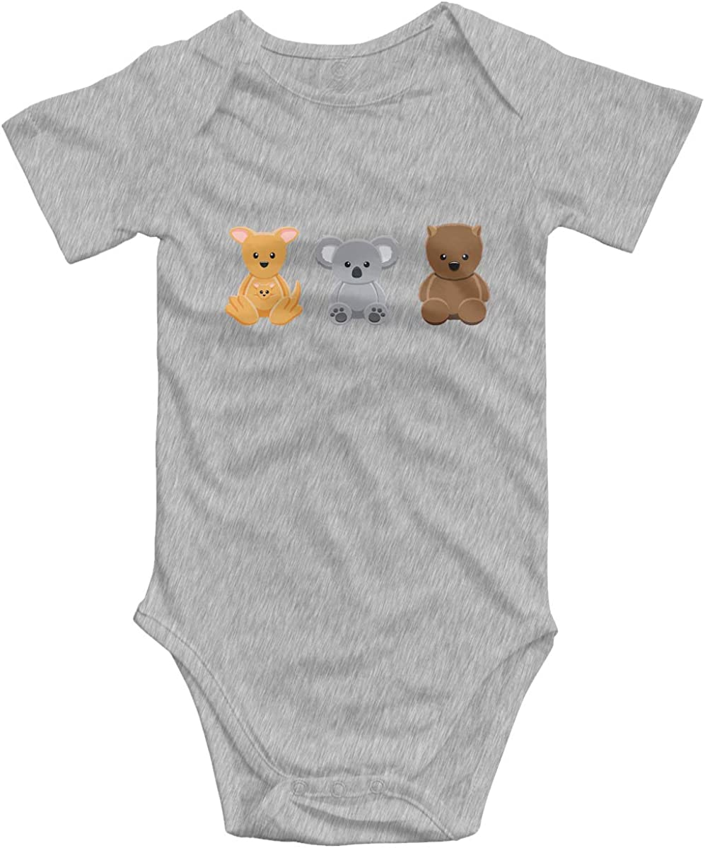 Baby Cotton Short-Sleeve Bodysuit Kangaroo Koala Wombat Doll Set Funny Infant Onesies Gray