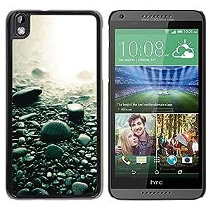 Be Good Phone Accessory // Dura Cáscara cubierta Protectora Caso Carcasa Funda de Protección para HTC DESIRE 816 // Beach Black Rocks Water Pebbles Nature