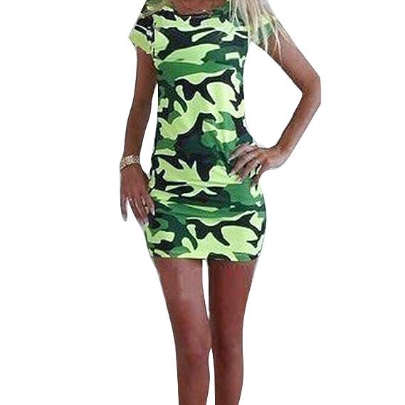 Juleya Vestidos Mujer Gasa Manga Corta Vestido de Verano Camuflaje Bodycon Mini Vestido de Cuello Redondo Vestidos Cortos Vestido de Playa Camisa Larga ...