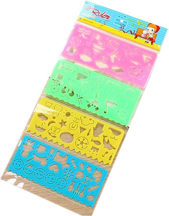 BALUZ - Regla de plástico, pack de 4 reglas geométricas, dibujo ...
