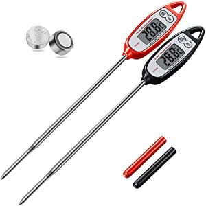 Digital Meat Thermometer (2 pack),Kuger Instant Read Kitchen Thermometer for Cooking with Stainless Steel Probe,Candy Thermometer,BBQ Grill Accessories