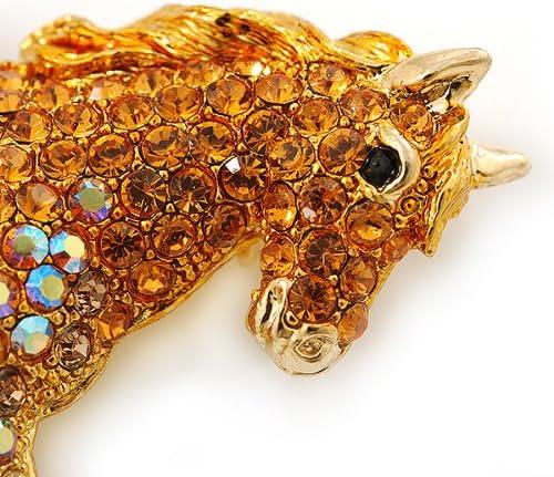 65mm Across Avalaya Orange Gold//Citrine Pave Set Austrian Crystal Horse Brooch in Gold Plating