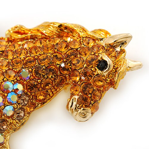 Orange Gold/ Citrine Pave Set Austrian Crystal 'Horse' Brooch In Gold Plating - 65mm Across by Avalaya (Image #2)