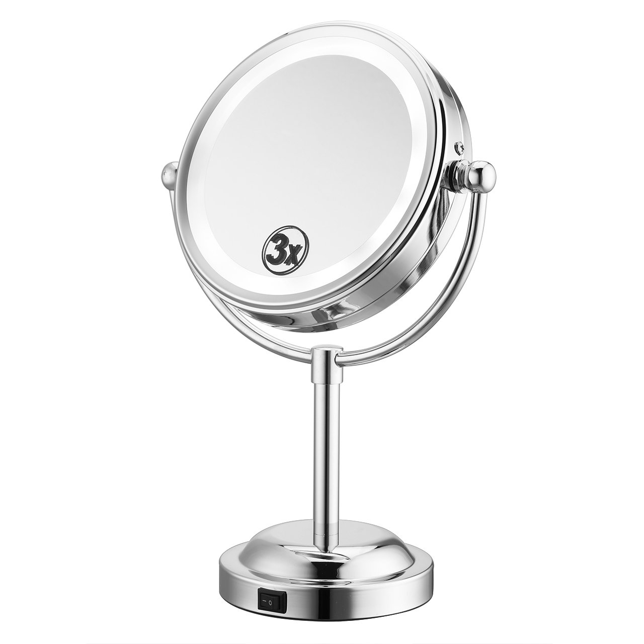 LIVINGbasics™ 24 LED Lighted Trifold Makeup Mirror Vanity Mirror with Touch Screen Dimming, Detachable 1X/2X/3X/10X Magnification Spot Mirror, High Definition and 180° Rotation, USB/Battery Charging, Black