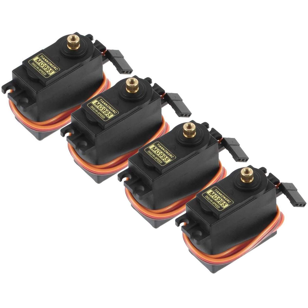 4PCS Servo Motor MG995 Control Angle180 Metal Gear Servo 20KG Digital High Speed Torque Servo Motor for Smart Car Robot Boat RC Helicopter