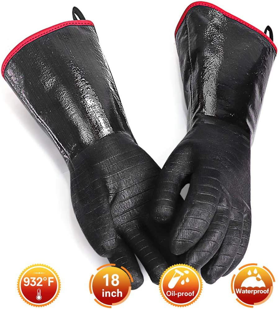 GEEKHOM Grilling Gloves, 18 inch 932 °F Heat Resistant BBQ Meat Smoker Glove, Long Waterproof Oil-Proof Non-Slip Oven Mitts for Turkey Fryer, Barbecue, Cooking, Baking (Black)
