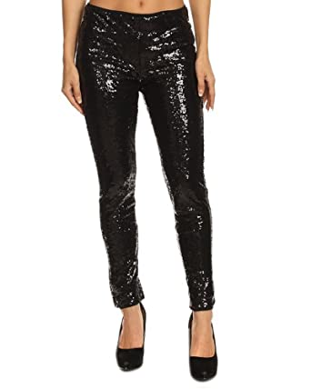 dfd4652e7650b Fascination MJB1080 Black Sequin Leggings (small) at Amazon Women's ...