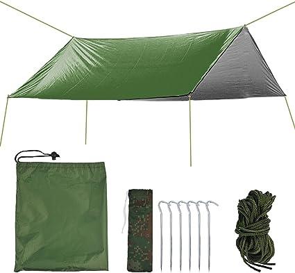 10x10ft Outdoor Camping Tent Tarp Rain Fly Canopy Sun Shelter Waterproof Poles