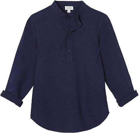 Gocco Camisa Mao Lino Azul Marino Niños: Amazon.es: Ropa y accesorios