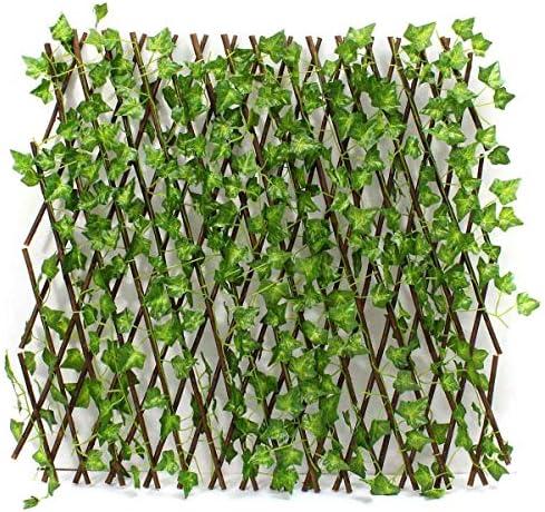 YouNITE 新しい拡張タイプガーデンの建物フェンス人工グリーンリーフ支店牧歌的なムーラ純木製の家のレストランウォールデコレーション (Color : Green)
