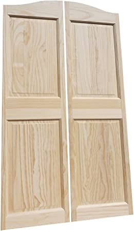 Saloon Western Style Swinging Bar Solid Wood Cafe Door Premade for 28W Finished Opening Includes Hinges 44T Pine Raised 4 Panel Cafe Door Cafe Doors by Cafe Doors Emporium