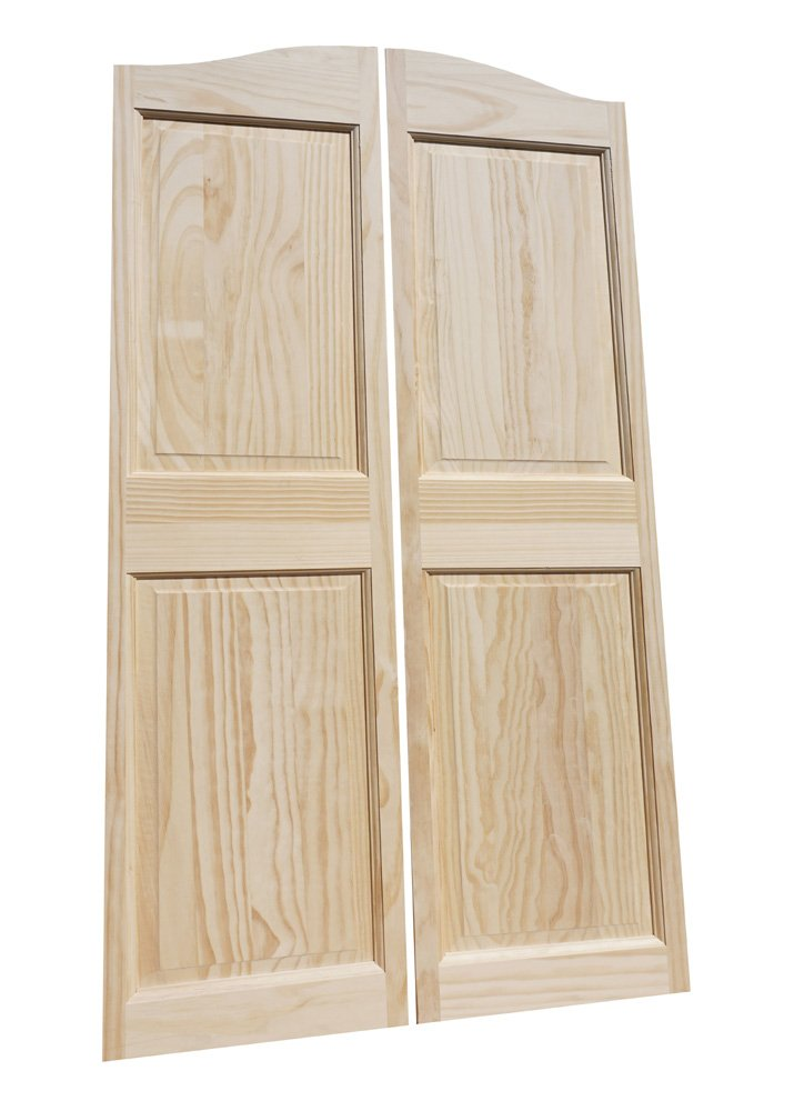 Cafe Doors by Cafe Doors Emporium | 65''T Pine Raised 4 Panel Cafe Door | Premade for 36''W Finished Opening | Saloon Western Style Swinging Bar Solid Wood Cafe Door | Includes Hinges by Cafe Doors Emporium
