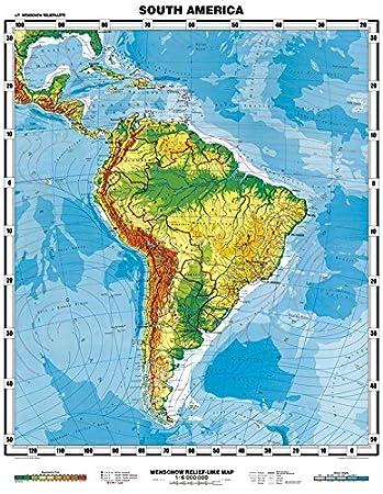 Lateinamerika Karte Gebirge.Amazon De Xxl Südamerika Physisch Engl Landkarten Papier