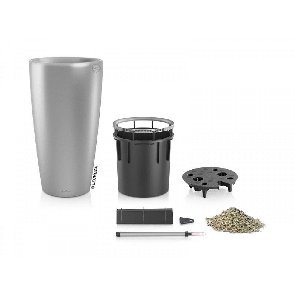Lechuza EP-LRON-SIL-16 16 x 30 in. Rondo Premium Planter44; Silver Metallic