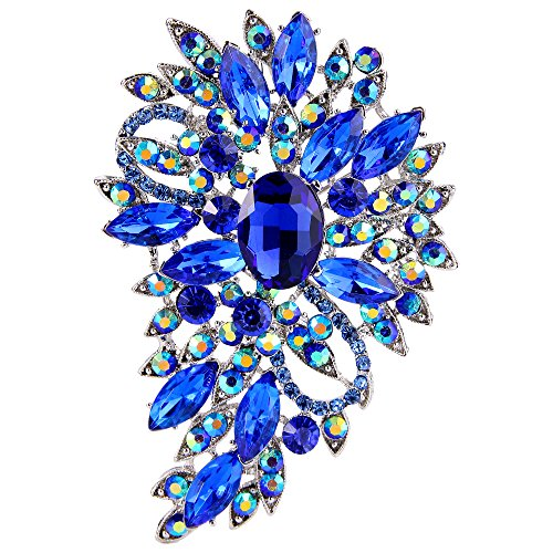 (EVER FAITH Women's Austrian Crystal Wedding Flower Leaf Bouquet Brooch Royal Blue Silver-Tone)