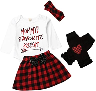 Infant Baby Girl Christmas Dress Clothes Romper Skirt Newborn Costume Outfit Set