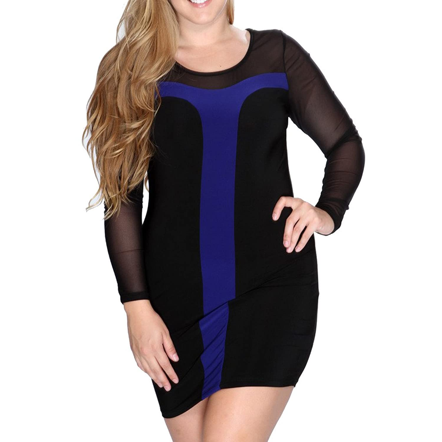 EGELBEL Women's Mesh Plus Size Long Sleeves Party Bodycon Dress