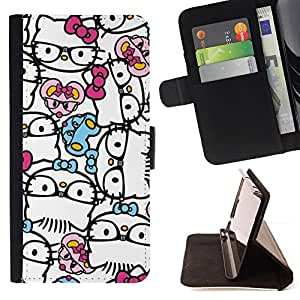 Jordan Colourful Shop - Abstract Hipster Kitty Bowtie White For Apple Iphone 6 PLUS 5.5 - Leather Case Absorci???¡¯???€????€???????&b