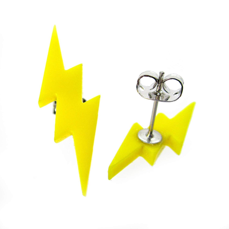 Yellow Lightning Bolt Stud Earrings Hypoallergenic Posts Thunder Bolt Studs